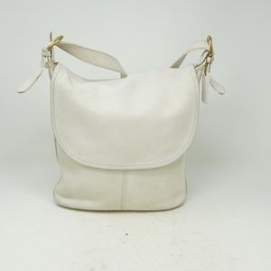VINTAGE COACH WHITNEY LEATHER FLAP CROSSBODY WHITE